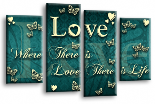 Love Quote Wall Art Print Teal Cream Family Picture